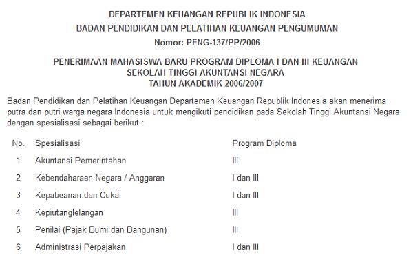 pengumuman pendaftaran STAN 2006