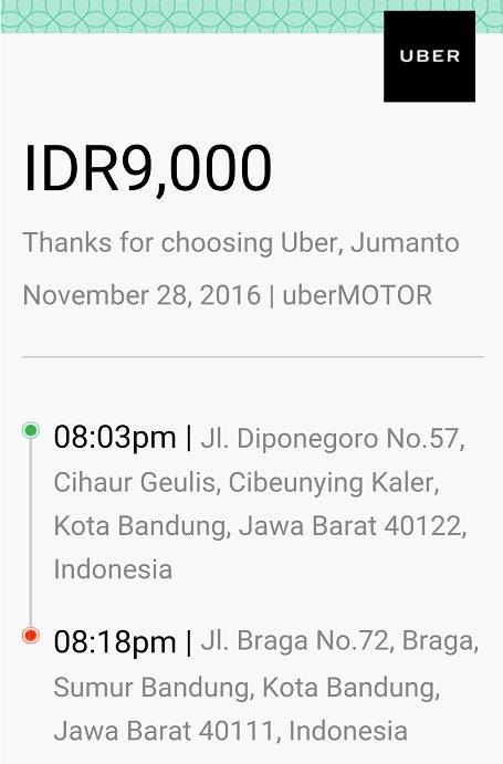uber motor dari gedung sate ke braga