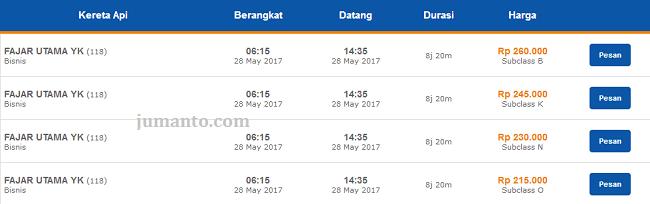 Harga Tiket Kereta Api Jakarta Jogja