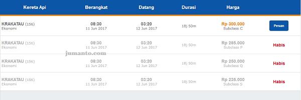 harta tiket kereta api krakatau terbaru
