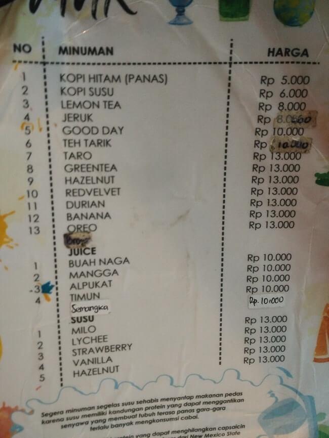 menu minuman warung pedas lampung