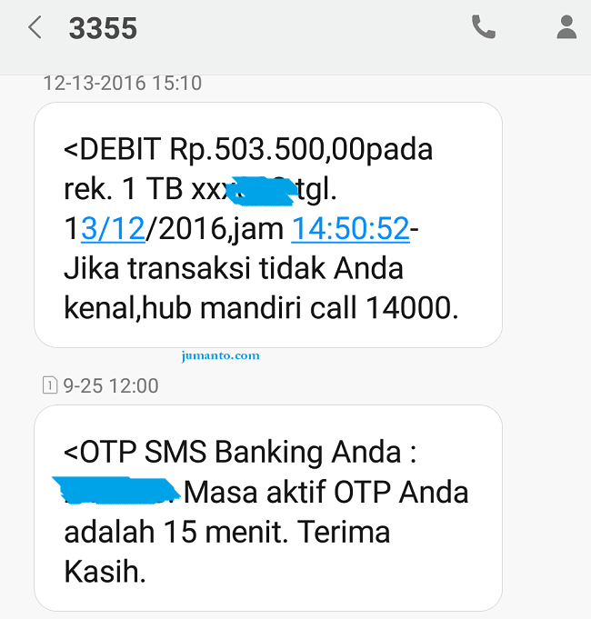 Cara Daftar SMS Banking Mandiri Tanpa Lewat ATM