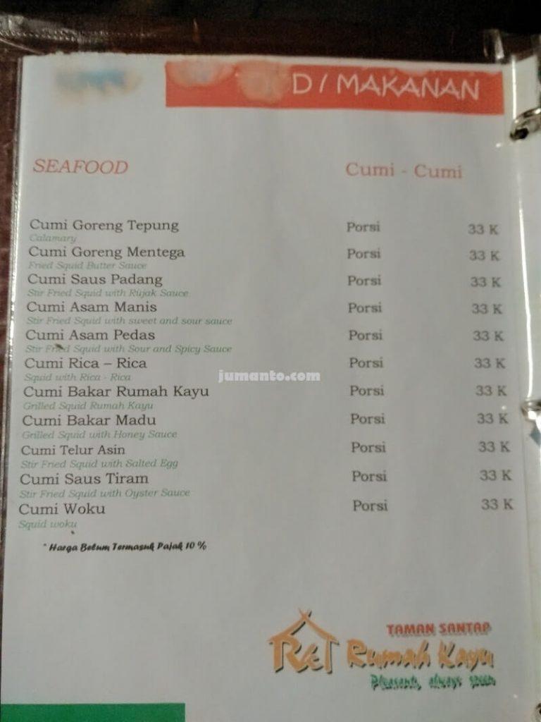 daftar menu rumah kayu bandar lampung