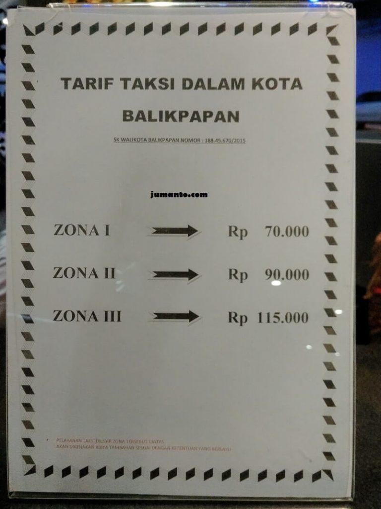 tarif taxi bandara balikpapan terbaru