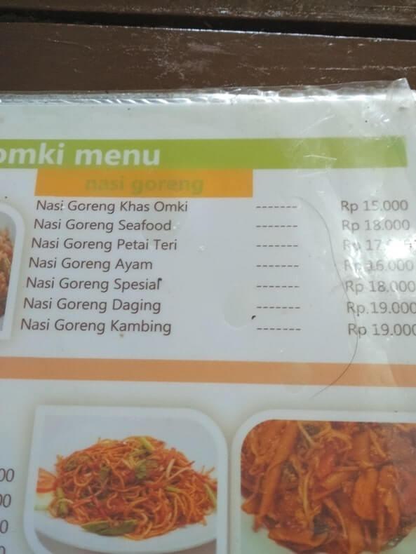 menu warung omki bandar lampung