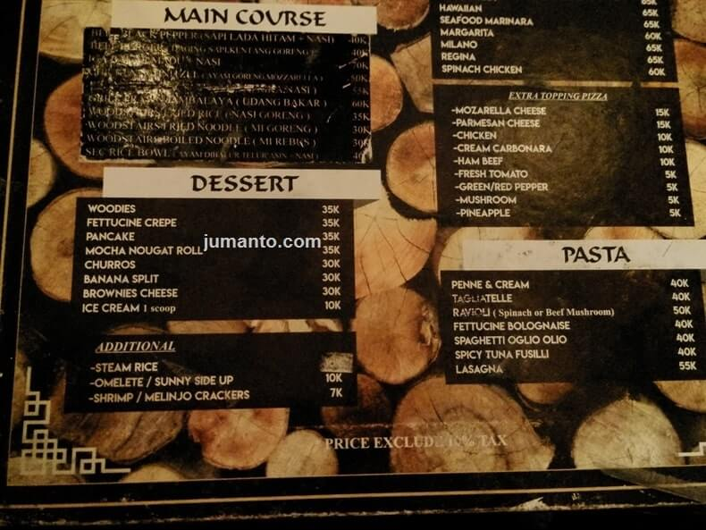 harga menu makanan woodstairs cafe