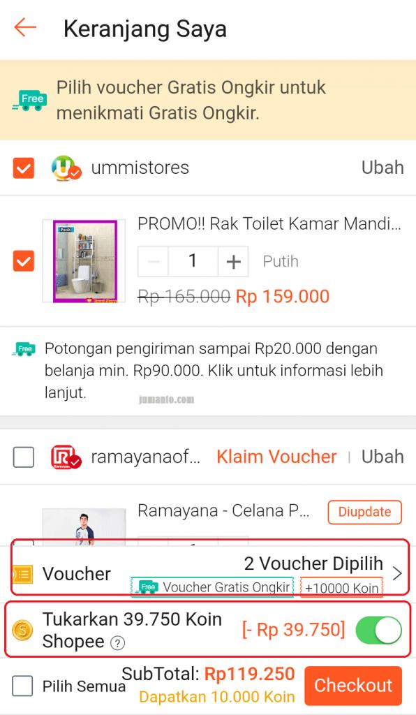 cara memasukkan voucher gratis ongkir shopee