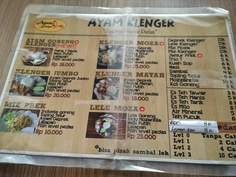 menu ayam geprek klenger palembang