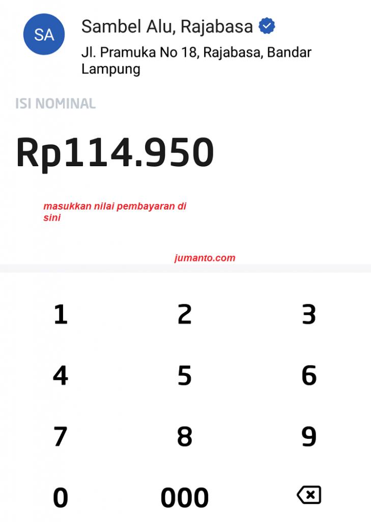 masukkan pembayaran menggunakan gopay indonesia