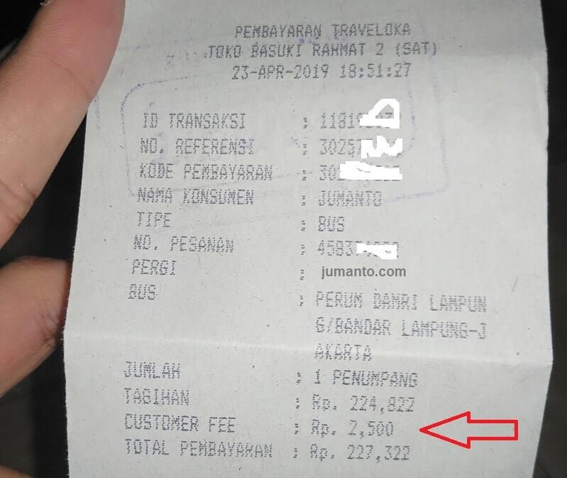 struk bukti pembayaran traveloka di alfamart