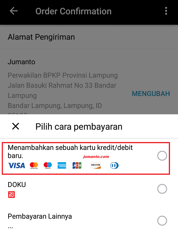 bayar aliexpress pakai kartu kredit atau debit online