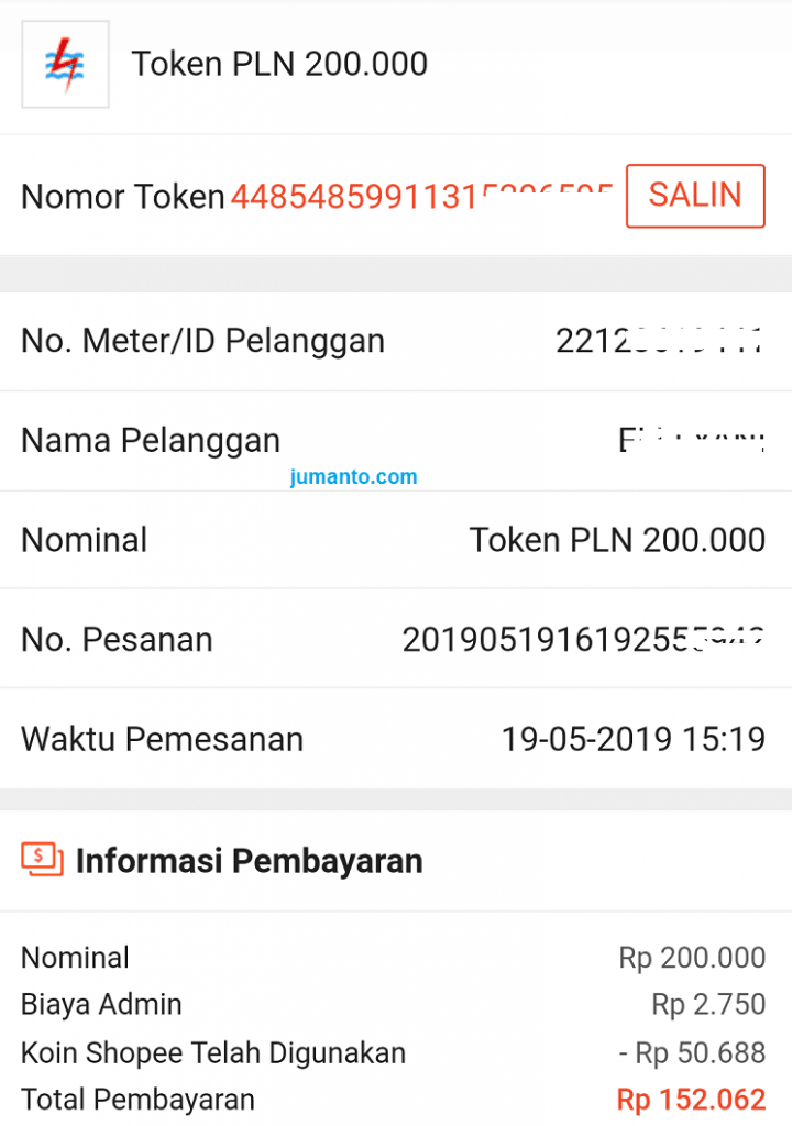 Contoh Nomor Token Listrik PLN Prabayar, Saya Beli Online Lewat HP