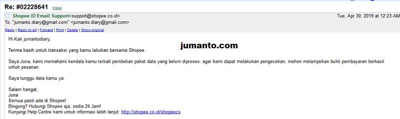 Pengaduan paket data di shopee tidak masuk lewat email