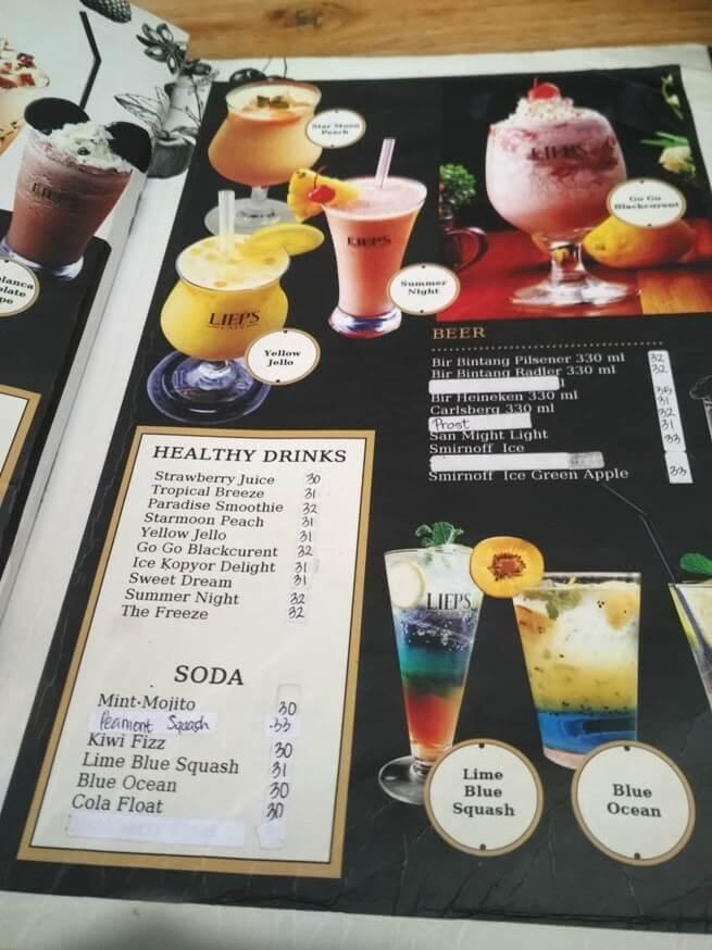 daftar menu dan harga lieps cafe bandar lampung