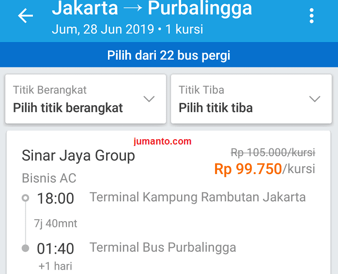 langkah pembelian tiket bus sinar jaya online di traveloka