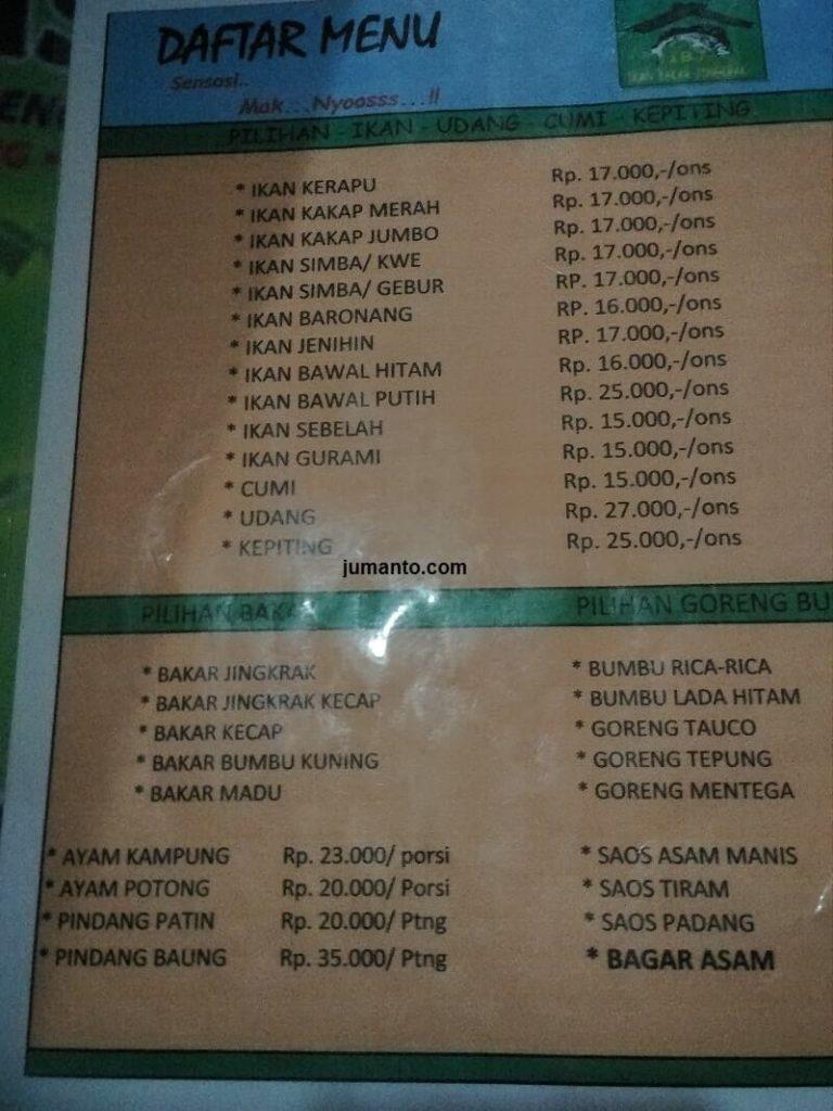 menu makanan dan harga ikan bakar jingkrak lampung