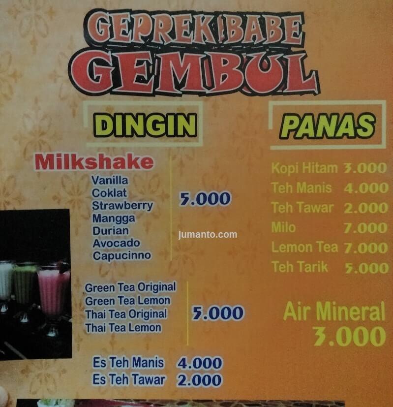 menu minuman geprek babe gembul